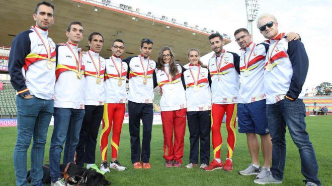 Los medallistas paralímpicos, en los Europeos de 2018 en Berlín.