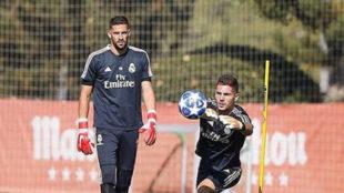 Casilla y Luca Zidane en un entrenamiento de la pasada temporada