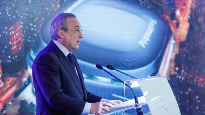 Florentino Pérez at the presentation for the renovations to the...