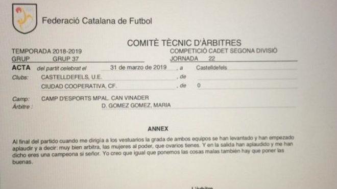 Acta del partido Castelldefels - Ciudad Cooperativa