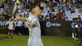Iago Aspas celebra su gol al Villarreal.