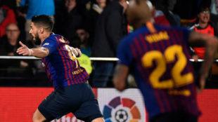 Luis Suárez celebrando el gol del empate ante el Villarreal.