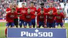 Los jugadores del Atlético posan antes del partido contra el Girona.