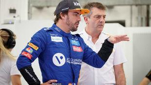 Fernando Alonso, durante los test de Bahréin.