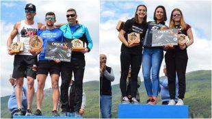 Los podios masculinos y femenino de 'The Fores Challenge'.