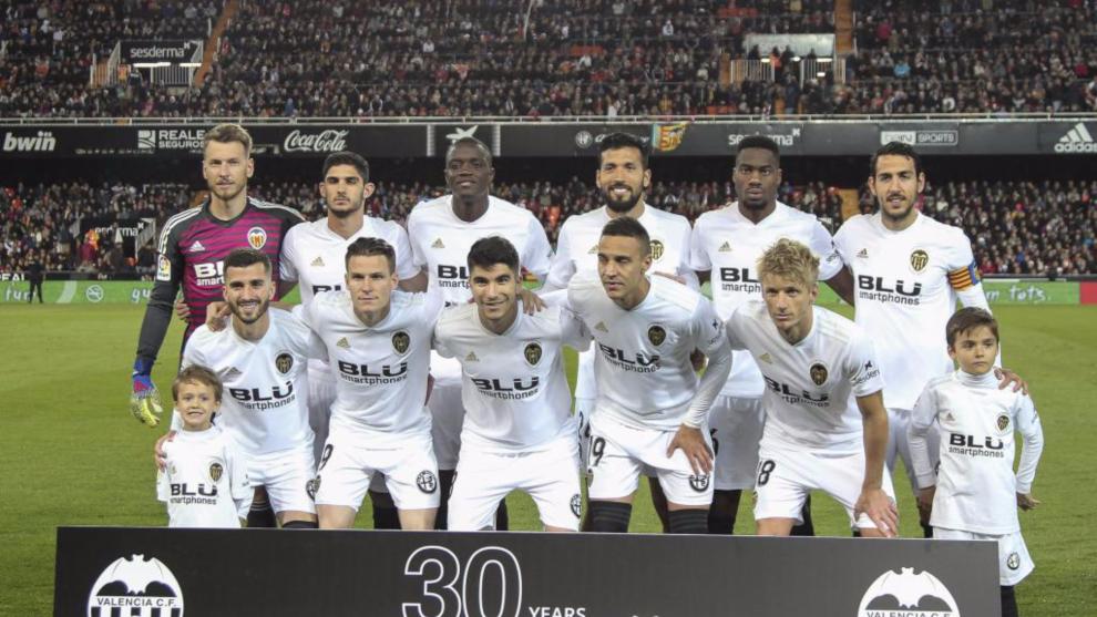 Once del Valencia en el partido contra el Real Madrid.