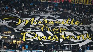 Aficionados del Marsella durante un partido de esta temporada