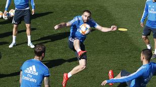Dani Carvajal, entrenándose en Valdebebas.