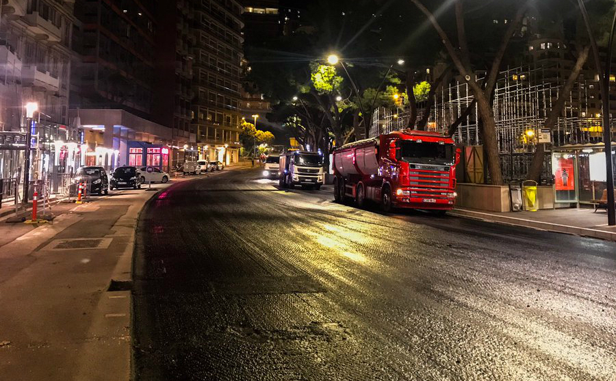 El trabajo en progreso del nuevo asfaltado para el GP de Mónaco 2019.