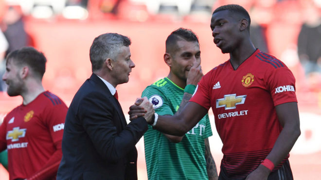 Pogba with Solksjaer