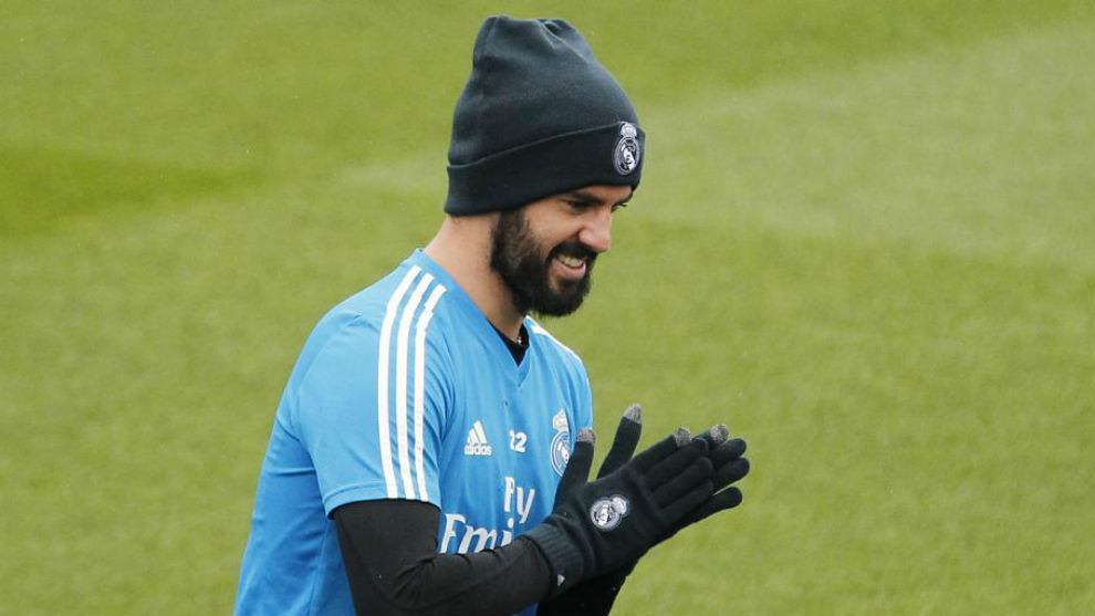 Isco in a training session at Valdebebas.