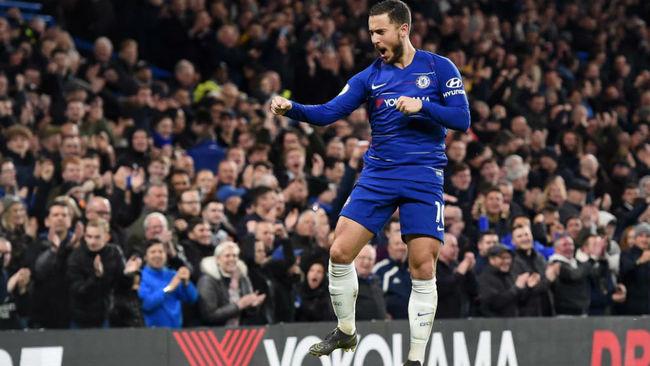 Hazard celebra un gol on el Chelsea el pasado miércoles.