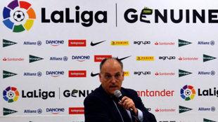 El presidente de LaLiga Javier Tebas durante la presentación de la...