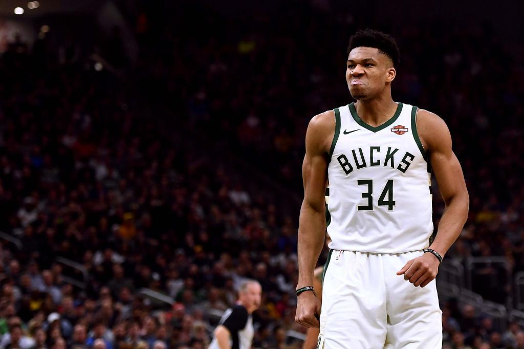 Giannis Antetokounmpo playing for the Bucks this season.