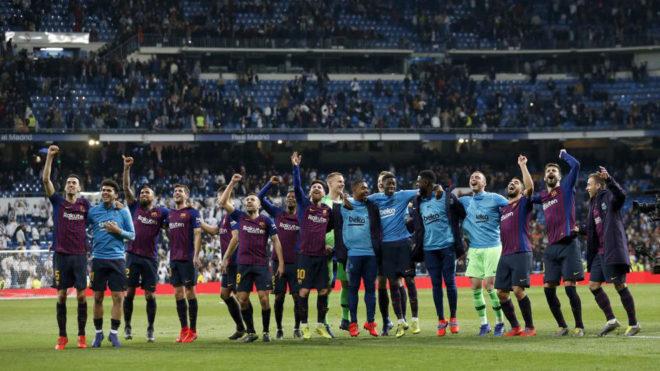 EL Barcelona celebra la victoria ante el Atlético de Madrid
