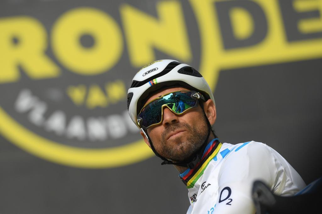 Spanish Alejandro <HIT>Valverde</HIT> of Movistar Team waits for the start of the 103rd edition of the Ronde van Vlaanderen - Tour des Flandres - Tour of Flanders one day cycling race, 270,1km from Antwerp to Oudenaarde, on April 7, 2019. (Photo by DAVID STOCKMAN / BELGA / AFP) / Belgium OUT