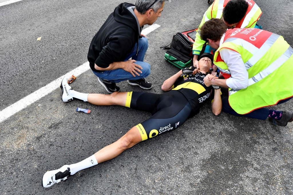 Dutch Niki Terpstra of Direct Energie lies on the ground after falling during the 103rd edition of the <HIT>Ronde</HIT> van Vlaanderen - Tour des Flandres - Tour of Flanders one day cycling race, 270,1km from Antwerp to Oudenaarde, on April 7, 2019. (Photo by DIRK WAEM / BELGA / AFP) / Belgium OUT