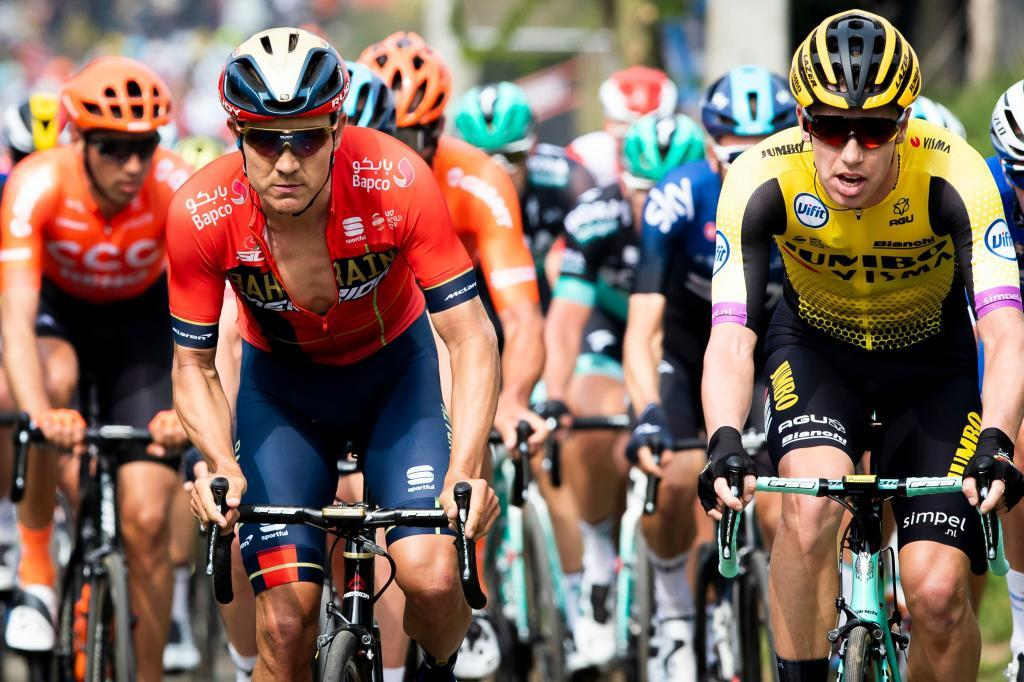 Australian Heinrich Haussler (L) of Bahrain-Merida and Dutch Pascal Eenkhoorn of Team Jumbo-Visma compete during the 103rd edition of the <HIT>Ronde</HIT> van Vlaanderen - Tour des Flandres - Tour of Flanders one day cycling race, 270,1km from Antwerp to Oudenaarde, on April 7, 2019. (Photo by YORICK JANSENS / BELGA / AFP) / Belgium OUT