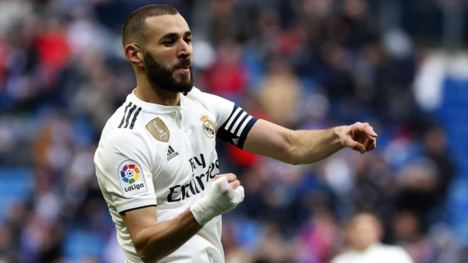 Karim Benzema celebrating one of his goals against Eibar.