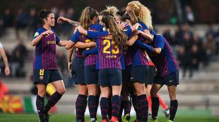 Las jugadoras del Barcelona celebran un gol esta temporada.