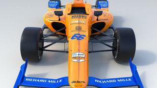 Imagen en ·D del nuevo McLaren66 para las 500 Millas de Indinápolis.