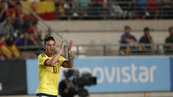 James playing for Colombia against Spain.