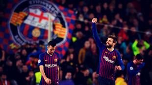 Gerard Piqué celebra un gol del Barcelona en la eliminatoria ante el...