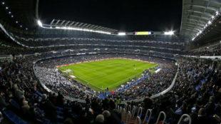 Visión panorámica del estadio Santiago Bernabéu.