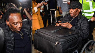 Pelé llegó a Sao Paulo tras estar ingresado en París por una...