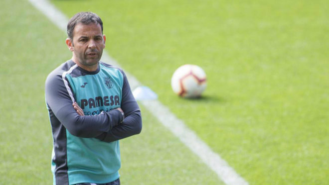 Calleja, durante un entrenamiento con el Villarreal.