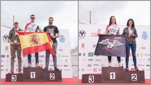 Los podios masculino y femenino.