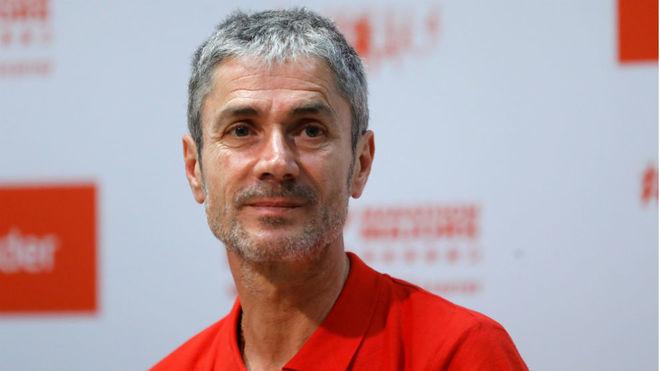 Martín Fiz, en rueda de prensa