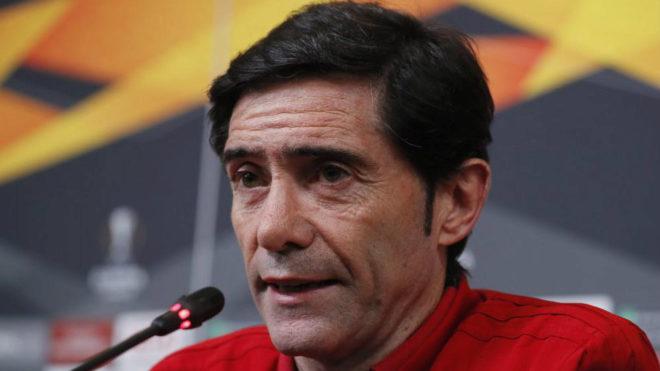 Marcelino durante una rueda de prensa de la Europa League.