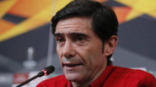 Marcelino durante su rueda de prensa.