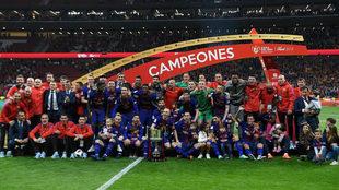 El Barcelona celebra la Copa del Rey del año 2018.