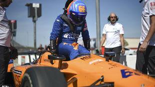 Alonso, durante su test en Texas.