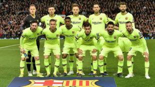 El once inicial del Barcelona en Old Trafford.