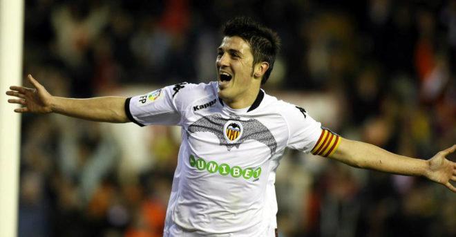 Villa celebra un gol frente al Villarreal.