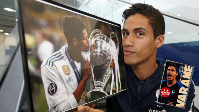 Varane during an interview with MARCA, and the front cover of the...