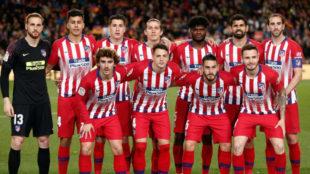 Once del Atlético ante el Barcelona en el Camp Nou.