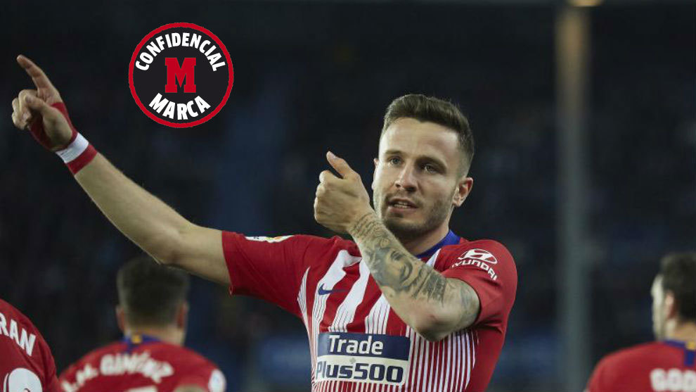 Saúl celebra un gol del Atlético.