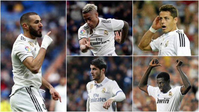 Benzema, Mariano, Chicharito, Morata and Adebayor.