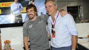 Sainz y Alonso, durante un gran premio de 2017.