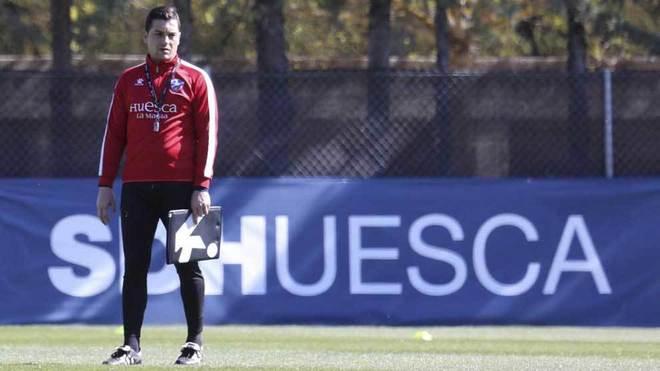 Francisco, en un entrenamiento del Huesca.