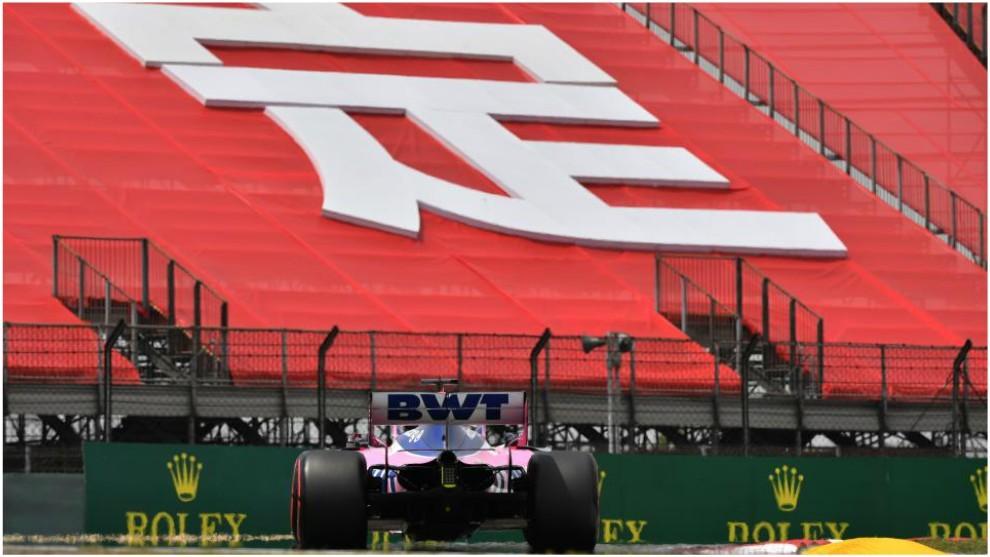 Checo Pérez, este sábado en la calificación del GP de China 2019.