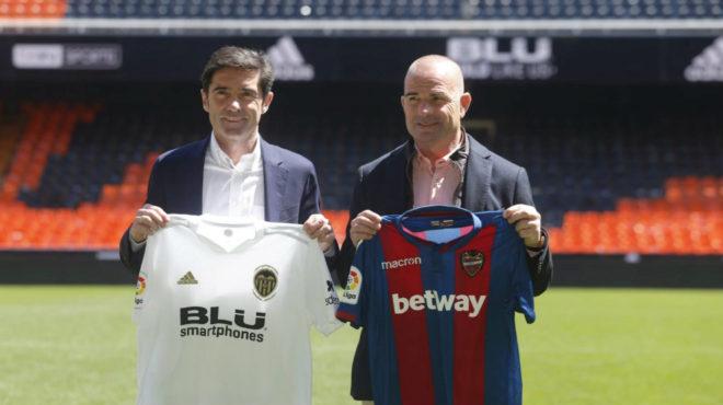 Marcelino y Paco López en Mestalla este sábado.