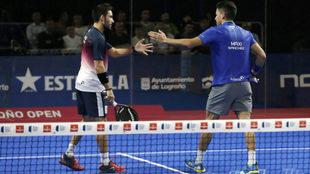 Sanyo y Maxi celebran su victoria tras pasar a la final del Logroño...