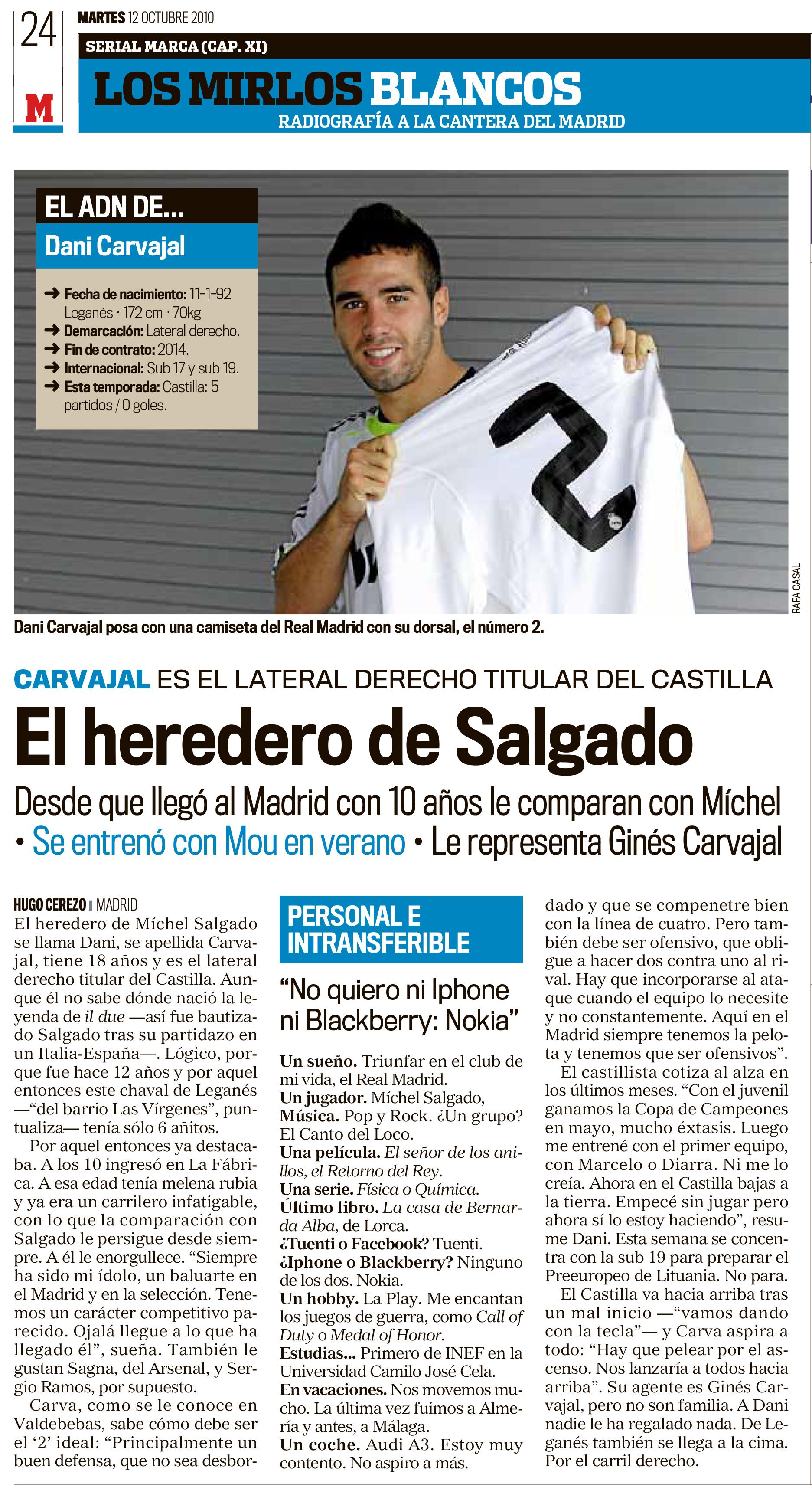 La primera entrevista de Carvajal en MARCA en octubre de 2010