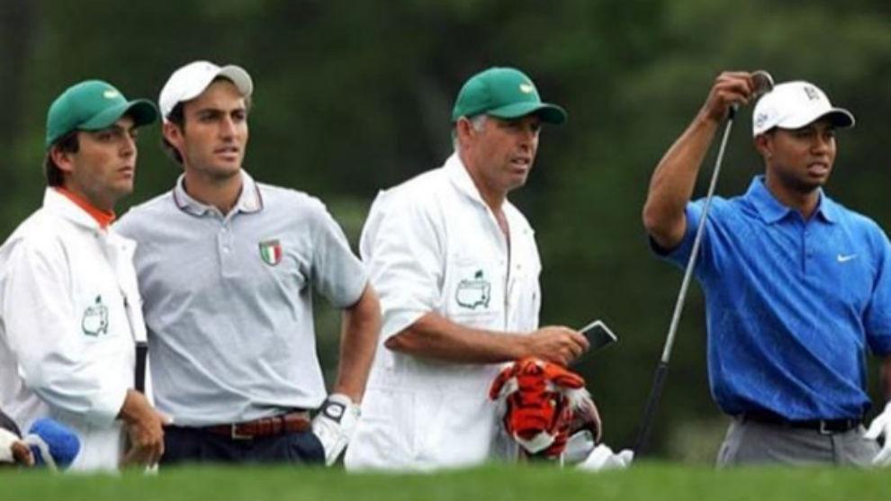 Francesco Molinari, junto a su hermano Edoardo, en el Masters de 2006.