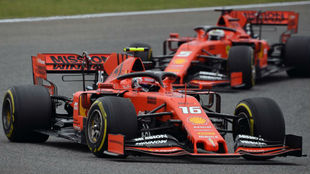 Leclerc, antes de tener que dejar adelantar a Vettel.